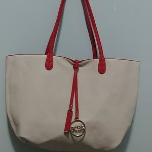 Reversible BCBG Ivory/Red Tote